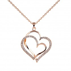 Collier double coeur strass rose