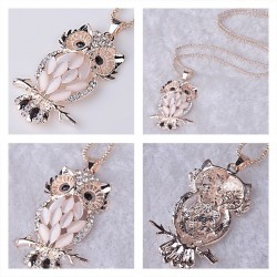 Collier hibou rose strass