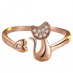 Bague chat coeur strass rose