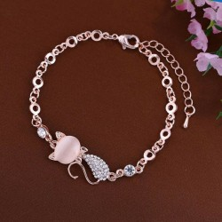 Bracelet chat strass rose