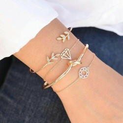 Lot de 4 bracelets feuille noeud diamant