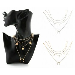 Collier multi chaine lune piece