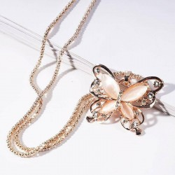 Collier sautoir papillon rose strass