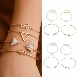 Lot de 4 bracelets noeud ruche miel triangle